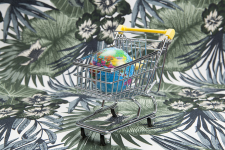 a planet earth in a supermarket shopping cart on a tropical motif background. Minimal still life color photography