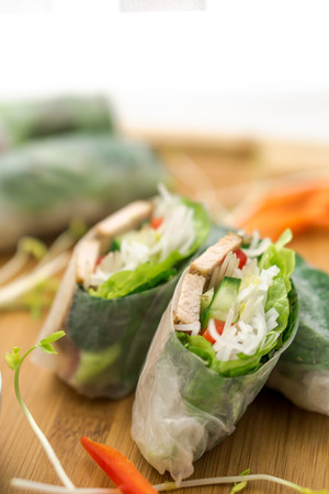 cuon: Fresh vietnamese spring rolls, great as an healthy appetizer with peanut butter sauce for dipping.