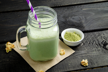 Smoothie made with powdered green tea (also known as matcha). Not only is this green smoothie delicious, its also packed with antioxidants (thanks to the matcha powder). Healthy, refreshing and delicious, its the perfect drink for those hot summer days.