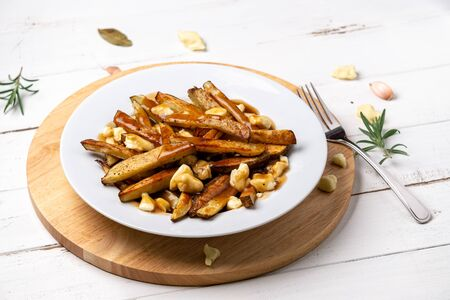 French fries poutine dish on white. A classic fast food cuisine dish from Quebec. This canadian comfort food is made with french fries mixed with tasty cheese curds and a delicious brown gravy sauce. Imagens