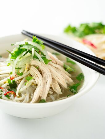 Vietnamese pho soup dish portrait view. A classic authentic vietnamese food, this pho soup is served in a white bowl with chicken broth and lots of fresh garnishes such as cilantro and bean sprouts.