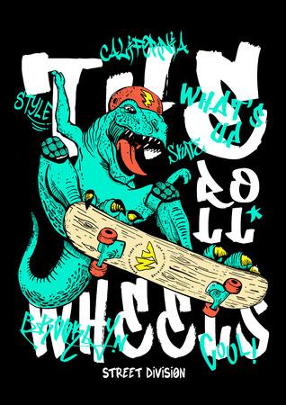Hand drawn dinosaur vector design for t shirt printing Foto de archivo - 109554282