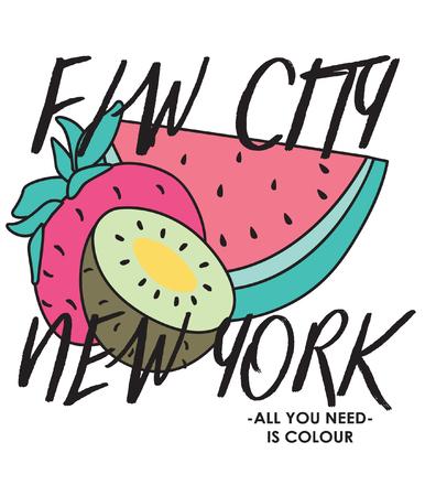 Diseño de vector de frutas dibujadas a mano para impresión de camisetas Foto de archivo - 109554398