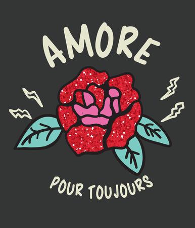 Diseño de vector de rosas dibujadas a mano para impresión de camisetas Foto de archivo - 109554401