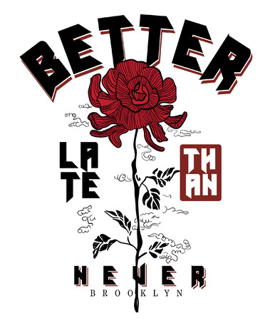 Typography with flower for t shirt printing Vectores