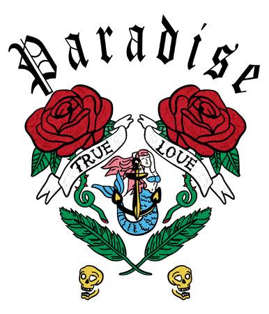 Hand drawn roses & mermaid vector design for t shirt printing 矢量图像