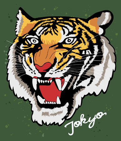 Hand drawn tiger vector design for t shirt printing 免版税图像 - 109554526