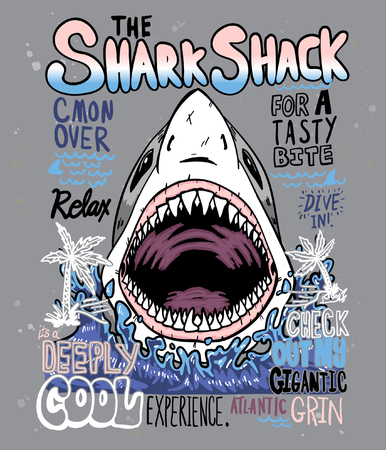 Typography with shark for t shirt printing