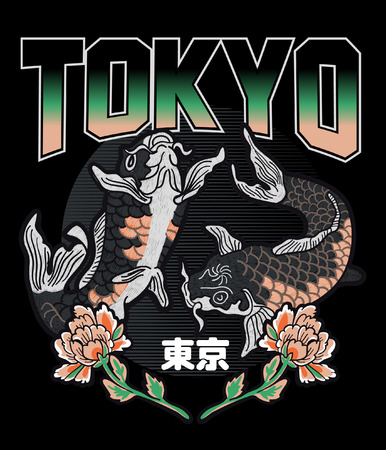 Typography with koi fish for t shirt printing