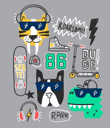 Typographie avec des patchs pour l'impression de t-shirts