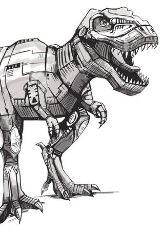 Ręcznie rysowane projekt wektor dinozaura do drukowania koszulek