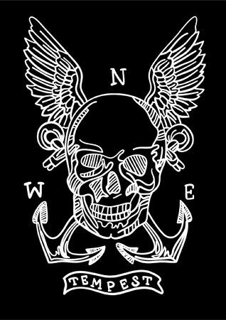 Hand drawn skull vector design for t shirt printing 矢量图像