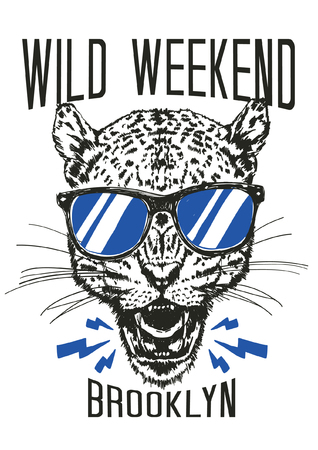 Hand drawn cheetah vector design for t shirt printing 矢量图像
