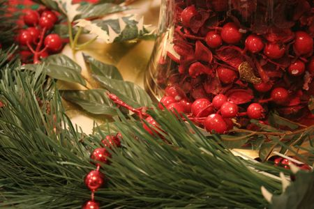 bunched: Christmas decorations on a table