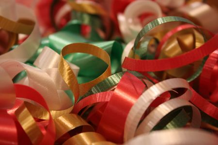 A wrapped present with a close up of the ribbon Stock Photo - 2147775