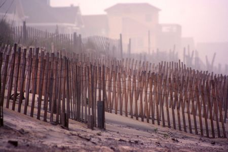 A Foggy Sunrise on a beach in the Outer Banks of North Caronina. photo