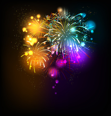 place for text: Festive fireworks background with place for text Illustration