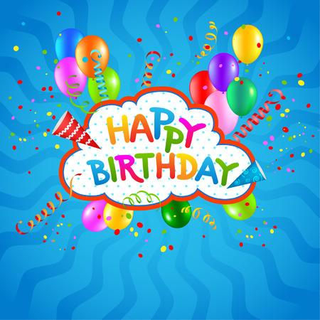 glücklich: Alles Gute zum Geburtstag blauem Hintergrund Illustration
