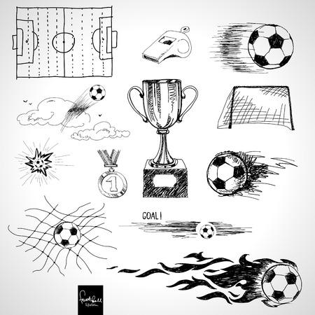 futbol soccer dibujos: Conjunto de elementos de croquis de f�tbol Vectores