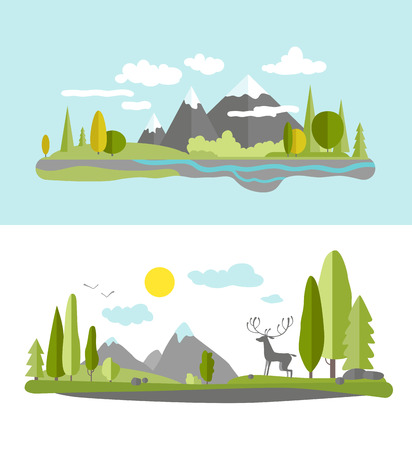 mountain view: Summer landscape in flat style.