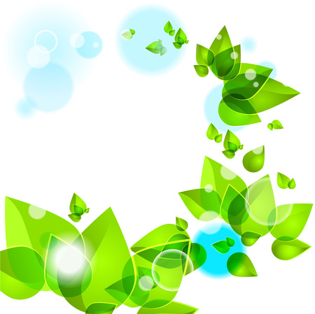 saturate: Abstract background with green leaves Illustration