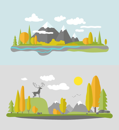 mountain view: Autumn nature design. Vector flat style. Illustration