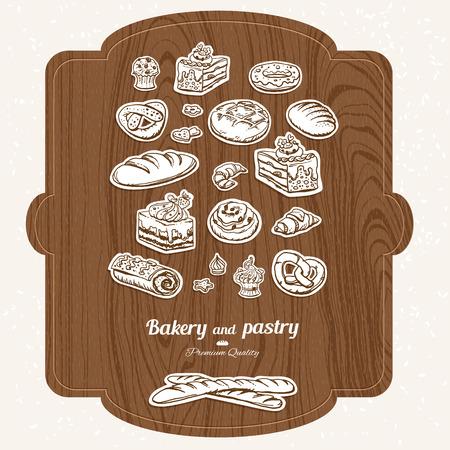 cutting board: Bakery label sketch set on wood cutting board Illustration