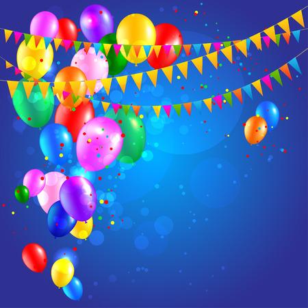 Feestelijke achtergrond met ballonnen en vlaggen. Plaats voor tekst. Vector illustratie.