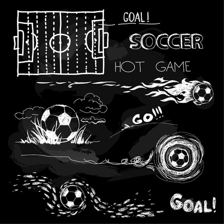 Chalk Illustration of soccer ball and elements Vector