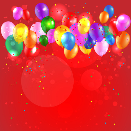 festive background: Festive red background with color balloons. Place for text.