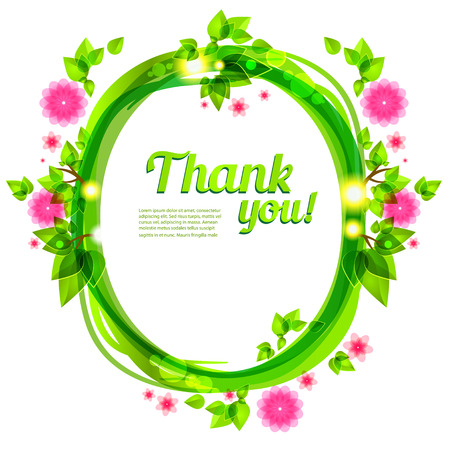 selebration: Green frame with beautiful flowers. Vector frame for holiday and events Illustration