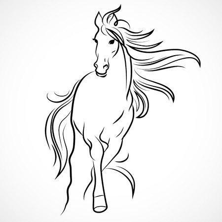 Silhouette of horse. Vector linear drawing Çizim