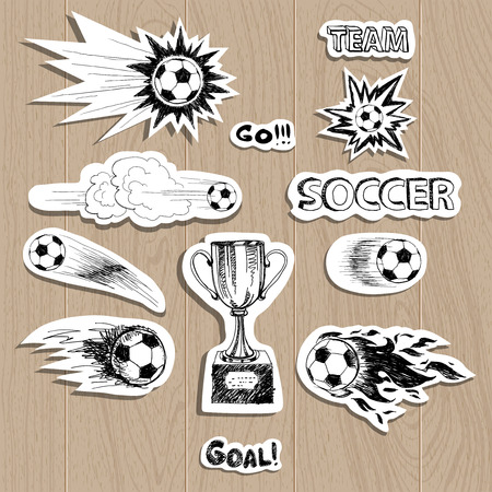 kickoff: Soccer stickers set on wood background
