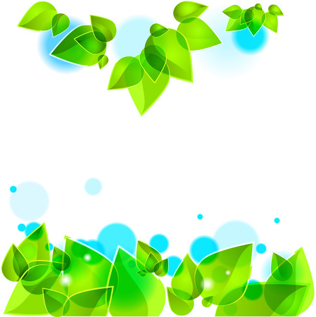 Spring green leaves background Illustration