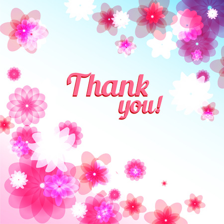 positive thought: Thank you floral card with place for text Illustration