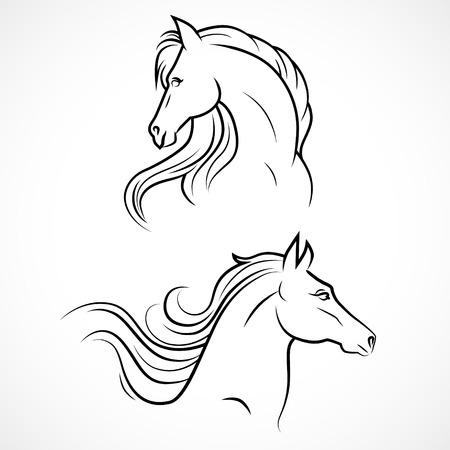 Vector silhouet van de paarden. Lineaire tekening Stock Illustratie