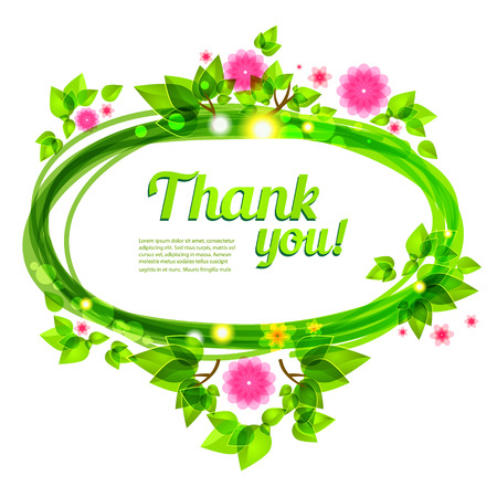 saturate: Beautiful frame with green leaves and flowers. Vector frame for holiday and events