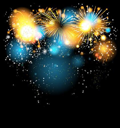 Mooie heldere vakantie achtergrond met vuurwerk Stock Illustratie