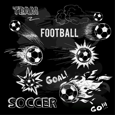 kickoff: Chalk sketch of football ball and elements. Vector doodle