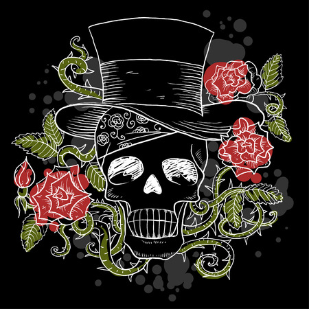 Dark skull in the hat with roses