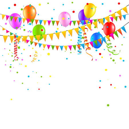 festive background: Festive background with balloons, flags and confetti