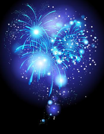 festive background: Blue festive firework background