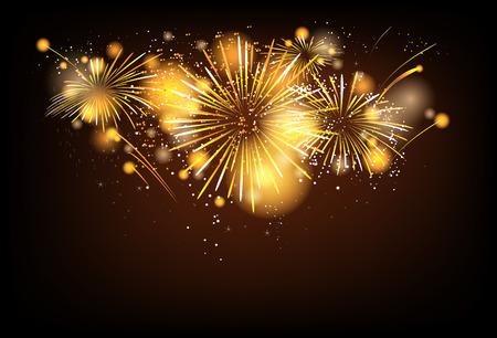 feestelijk: Goud feestelijke vuurwerk achtergrond Stock Illustratie