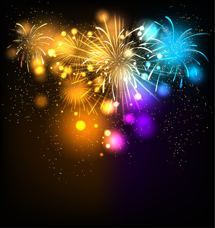 Fireworks  background. Place for text. Vector holiday illustration. Ilustrace