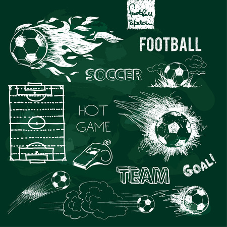 kickoff: Football elements and ball on green chalkboard. Vector sketch.