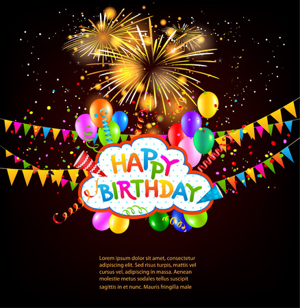 Happy birthday holiday background with balloons, flags, fireworks. Place for text. Vector holiday illustration.