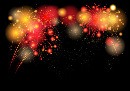Hot festive fireworks with place for text Ilustrace