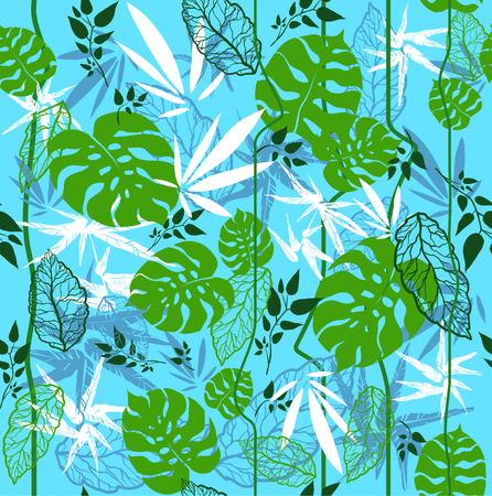 Jungle naadloze patroon op blauwe achtergrond Stock Illustratie