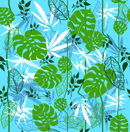 Jungle seamless pattern on blue background