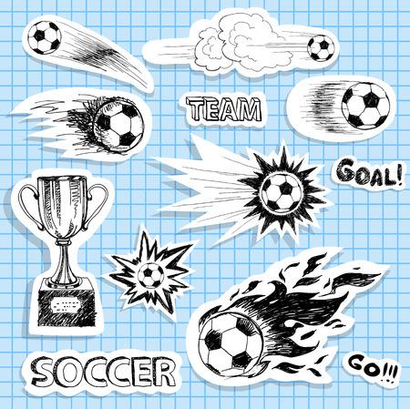 pelota de futbol: Conjunto de pegatinas de f�tbol de dibujo